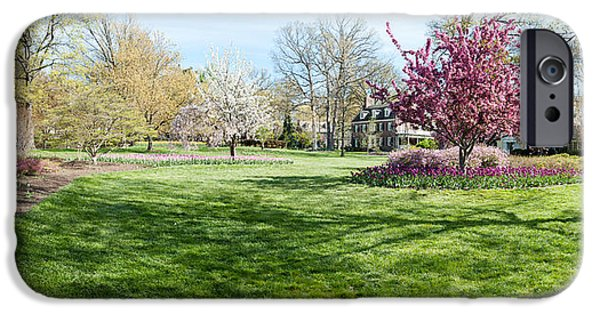 Garden Scene iPhone Cases - Trees In A Garden, Sherwood Gardens iPhone Case by Panoramic Images