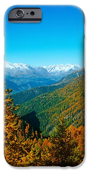 Mountain iPhone Cases - Trees In Autumn At Simplon Pass, Valais iPhone Case by Panoramic Images