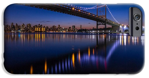 City Scape iPhone Cases - Triboro Bridge NY at twilight iPhone Case by Paul Tomlin