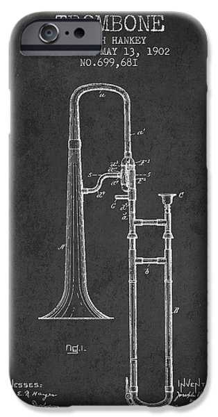 Slide iPhone Cases - Trombone Patent from 1902 - Dark iPhone Case by Aged Pixel