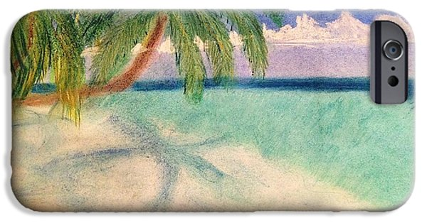 Nature Scene Pastels iPhone Cases - Tropical Shores iPhone Case by Renee Michelle Wenker