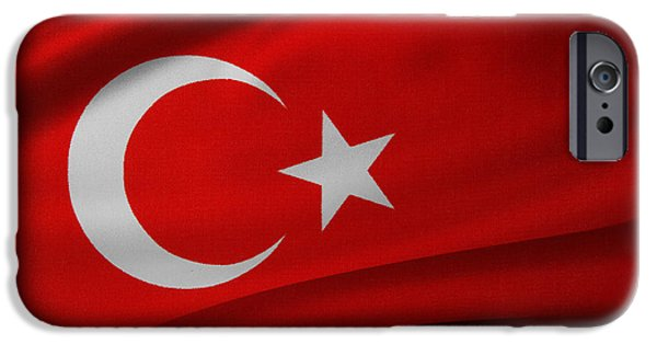 Wavy iPhone Cases - Turkish flag iPhone Case by Les Cunliffe
