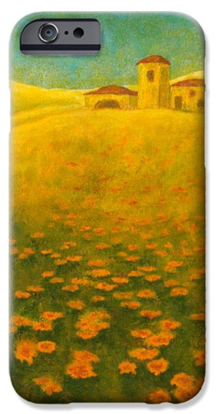 Tuscan Landscapes iPhone Cases - Tuscan Gold 2 iPhone Case by Pamela Allegretto