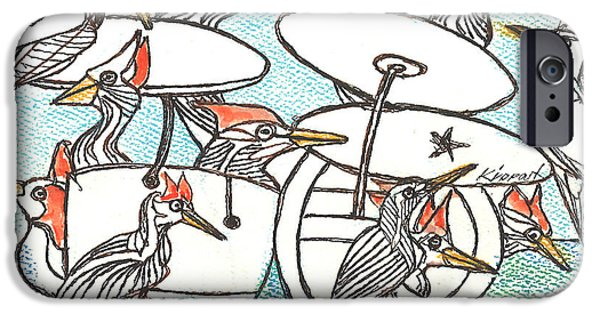 Christmas Greeting Pastels iPhone Cases - Twelve Drummers Drumming iPhone Case by Kippax Williams