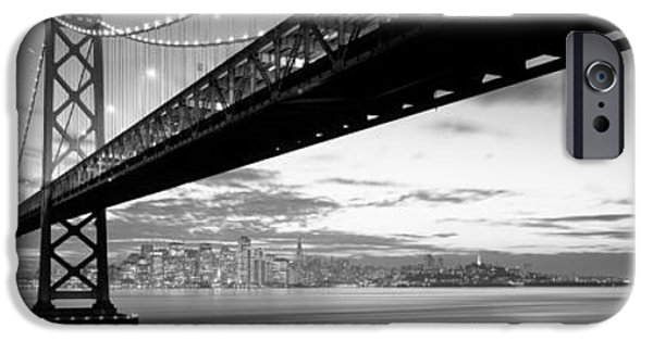 Bay Bridge iPhone Cases - Twilight, Bay Bridge, San Francisco iPhone Case by Panoramic Images