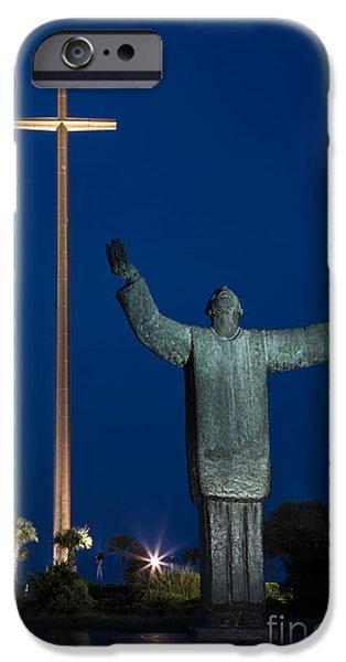 Nombre iPhone Cases - Twilight over Father Francisco Lopez de Mendoza Grajales statue Mission Nombre de Dios St. Augustine iPhone Case by Dawna  Moore Photography