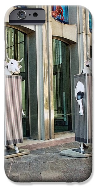 Twin Towers Nyc iPhone Cases - Cow Parade N Y C 2000 - Twin Cowers iPhone Case by Allen Beatty