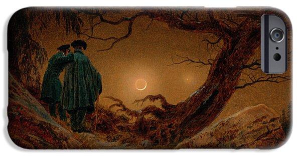 David iPhone Cases - Two Men Contemplating the Moon iPhone Case by Caspar David Friedrich