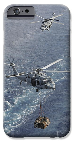 At Arrivals iPhone Cases - Two Mh-60s Sea Hawk Helicopters iPhone Case by Stocktrek Images