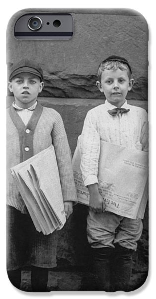 Newspaper iPhone Cases - Two newspaper boys iPhone Case by Aged Pixel