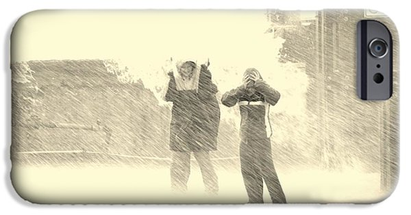 Winter Storm iPhone Cases - Two People Standing In A Rainstorm iPhone Case by PhotoStock-Israel
