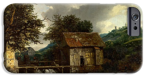 National Gallery Art iPhone Cases - Two Watermills and an Open Sluice at Singraven iPhone Case by Jacob van Ruisdael