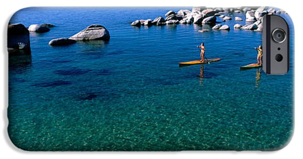 Adults Only iPhone Cases - Two Women Paddle Boarding In A Lake iPhone Case by Panoramic Images