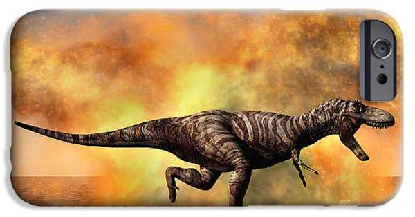 Wildlife Disasters iPhone Cases - Tyrannosaurus Rex Escaping iPhone Case by Mark Stevenson