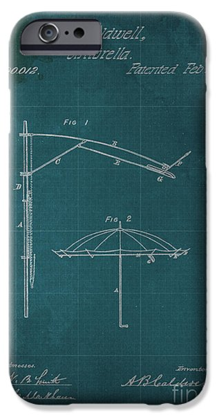 1870 Mixed Media iPhone Cases - Umbrella Patent - A.B. Caldwell iPhone Case by Pablo Franchi