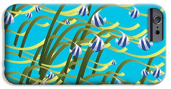 Alga Digital iPhone Cases - Underwater life iPhone Case by Gaspar Avila
