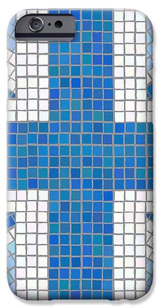Union Jack blue iPhone Case by Jane Rix