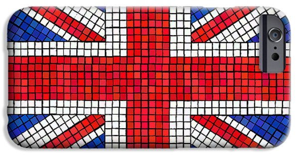 Mosaic iPhone Cases - Union Jack mosaic iPhone Case by Jane Rix