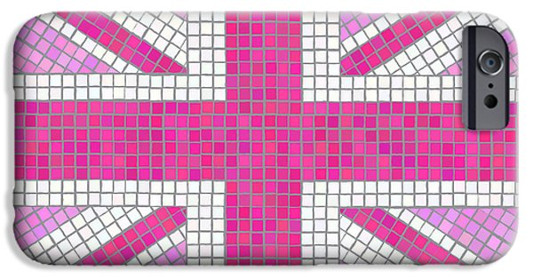 Backgrounds iPhone Cases - Union Jack pink iPhone Case by Jane Rix