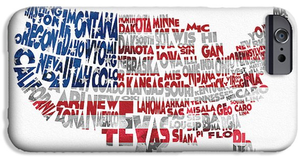 Dirty iPhone Cases - United States Typographic Map Flag iPhone Case by Ayse Deniz