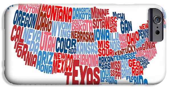 Text Map iPhone Cases - United States Typography Text Map iPhone Case by Michael Tompsett