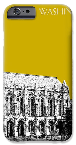 Huskies Digital Art iPhone Cases - University of Washington - Suzzallo Library - Gold iPhone Case by DB Artist