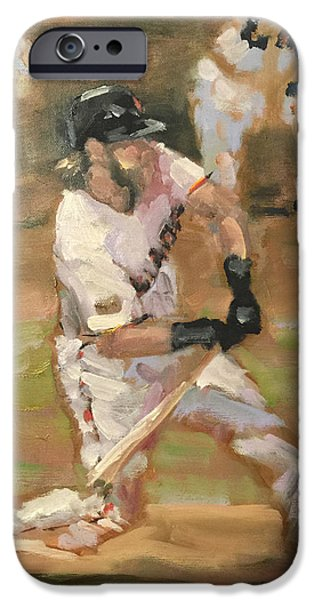 Baseball Art Paintings iPhone Cases - Untitled iPhone Case by Darren Kerr