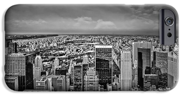 Hudson River iPhone Cases - Uptown Manhattan New York City BW iPhone Case by Susan Candelario
