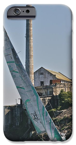 Alcatraz iPhone Cases - Upwind on San Francisco Bay iPhone Case by Steven Lapkin