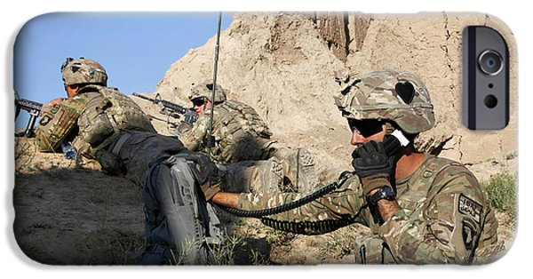 East Village iPhone Cases - U.s. Army Specialist Conducts A Radio iPhone Case by Stocktrek Images