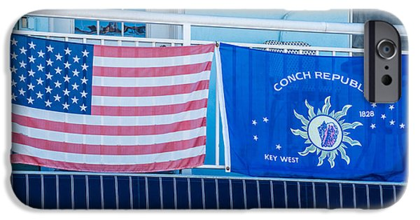 Old Glory iPhone Cases - US Flag and Conch Republic Flag Key West  iPhone Case by Ian Monk