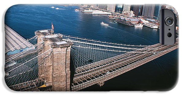 19th Century iPhone Cases - Usa, New York, Brooklyn Bridge, Aerial iPhone Case by Panoramic Images