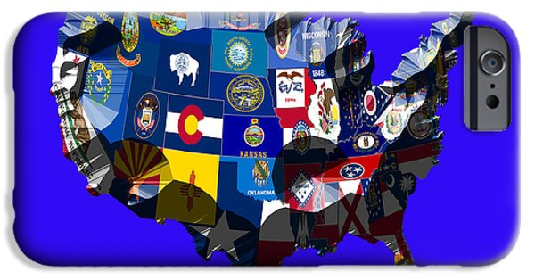 Massachusetts State Flag Digital iPhone Cases - USA States and Flags with Craters iPhone Case by Brian Reaves