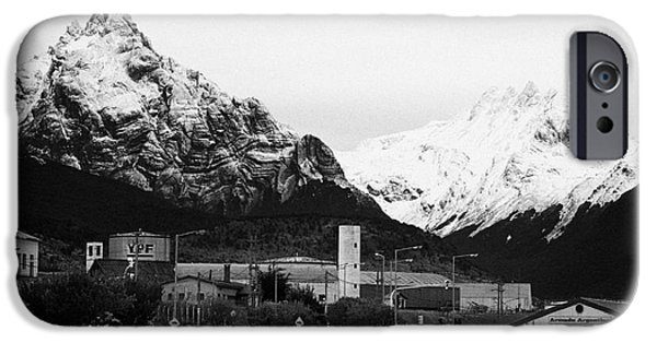 Town iPhone Cases - Ushuaia naval base and snow covered patagonian mountains tierra del fuego Argentina iPhone Case by Joe Fox
