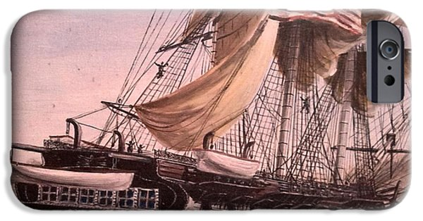 Constitution Paintings iPhone Cases - USS Constitution iPhone Case by Richard John Holden