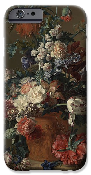 Flower Of Life iPhone Cases - Vase of Flowers iPhone Case by Jan van Huysum