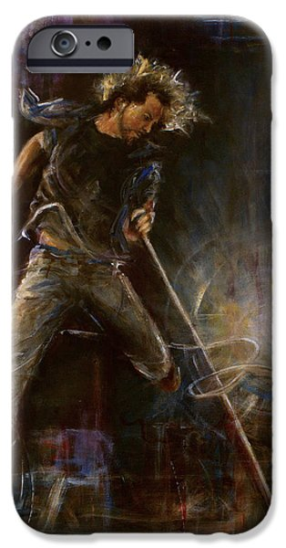 Pearl Jam Paintings iPhone Cases - Vedder iPhone Case by Josh Hertzenberg