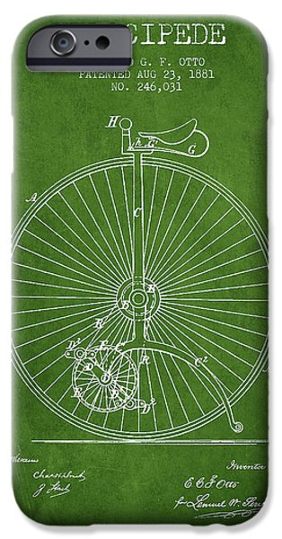 Sled iPhone Cases - Velocipede Patent Drawing from 1881 - Green iPhone Case by Aged Pixel