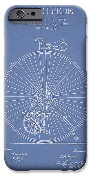 Sled iPhone Cases - Velocipede Patent Drawing from 1881 - Light Blue iPhone Case by Aged Pixel