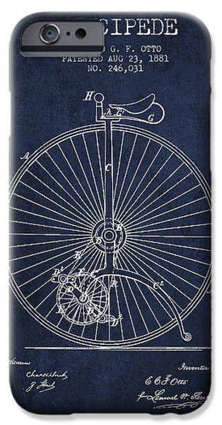 Sled iPhone Cases - Velocipede Patent Drawing from 1881 - Navy Blue iPhone Case by Aged Pixel