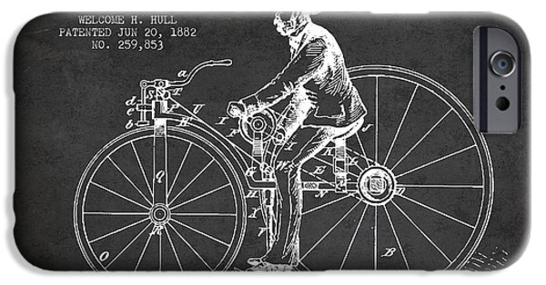 Sled iPhone Cases - Velocipede Patent Drawing from 1882- Dark iPhone Case by Aged Pixel
