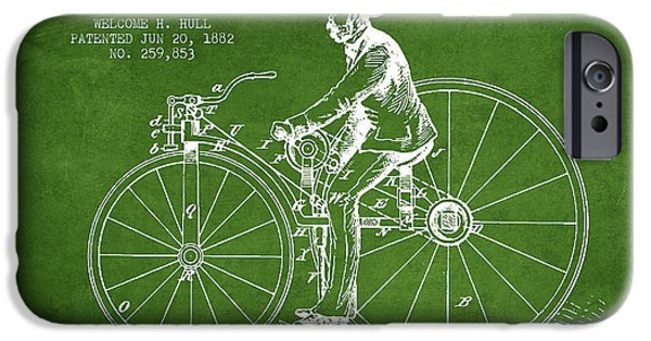 Sled iPhone Cases - Velocipede Patent Drawing from 1882- Green iPhone Case by Aged Pixel