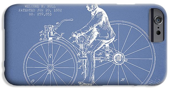 Sled iPhone Cases - Velocipede Patent Drawing from 1882- Light Blue iPhone Case by Aged Pixel