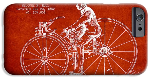 Sled iPhone Cases - Velocipede Patent Drawing from 1882- Red iPhone Case by Aged Pixel