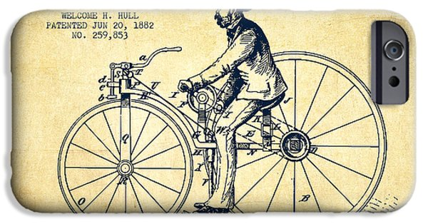 Sled iPhone Cases - Velocipede Patent Drawing from 1882- Vintage iPhone Case by Aged Pixel