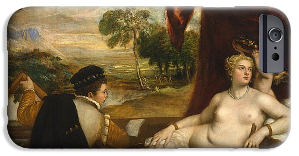 Lute Paintings iPhone Cases - Venus and the Lute Player iPhone Case by Titian