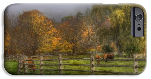 New England Autumn Scenes iPhone Cases - Vermont Farm in Autumn iPhone Case by Joann Vitali