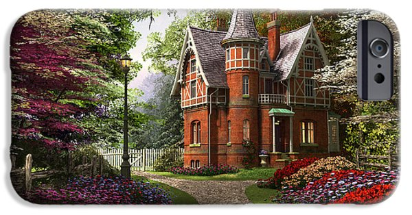 Pathway Digital iPhone Cases - Victorian Cottage In Bloom iPhone Case by Dominic Davison