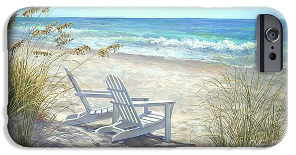 Beach Landscape Paintings iPhone Cases - View For Two iPhone Case by Laurie Hein