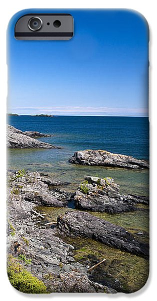 View of Rock Harbor and Lake Superior Isle Royale National Park iPhone Case by Jason O Watson
